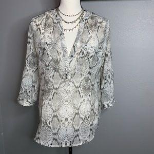 APT 9 S gray white snake print career work blouse
